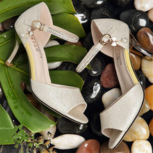 f470ec12e7e11 Blings Crystal Thong Sandals Pearl Butterfly-knot Pendant Pumps High Heels  Cover Heel Shoes Woman