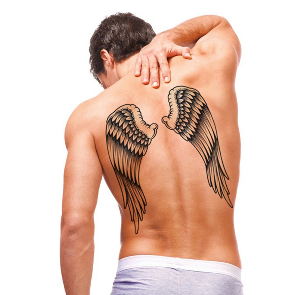 Black Wing Large Tattoo Water Transfer Waterproof Temporary Tattoo Stickers Arm Body Art Removable Back Tattoos Newest Product line art