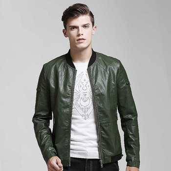 New Baseball Leather Jacket Men's PU Leather Jacket fashion College Stand Colla Street Jackets High Quality Autumn Winter  Coat