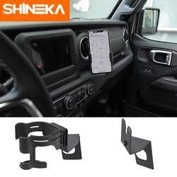 SHINEKA Modanature interne Supporto per Jeep Wrangler JL 2018 + Del Basamento della Staffa Multi-funzione Tazza di Bottiglia di Supporto Del Telefono Mobile Dell'automobile