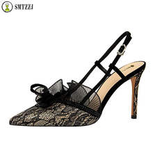 Luxury Brand Designer Lace Floral Shoes New Fashion Sexy 9CM Women Pumps Hollow Sandals Elegant Black Green ankle strap