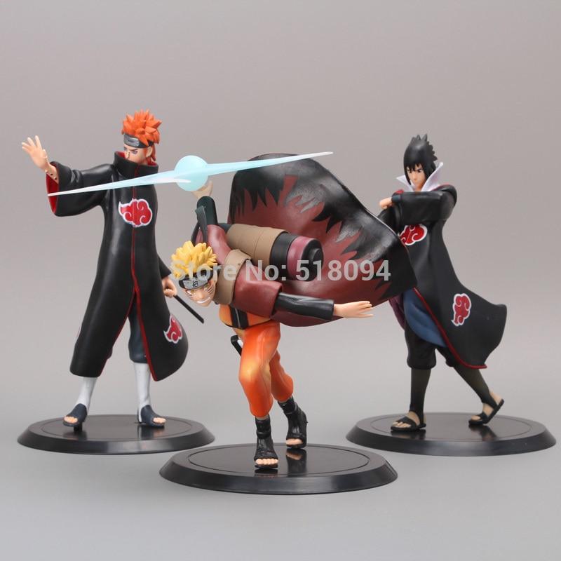 Free Shipping Anime Uzumaki Naruto + Pain + Uchiha Sasuke PVC Action Figure Model Toys 3pcs/set NTFG073 посуда boyscout 61360 казан