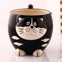Tea coffee mugs ceramic 3D Cartoon cat owl milk cup home decor craft room wedding decoration porcelain figurine Large animal cup