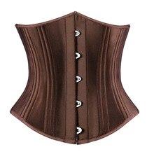 Corset y corpiño de acero en espiral para mujer, ropa Sexy de satén, entrenador de cintura, lencería de talla grande S 6XL