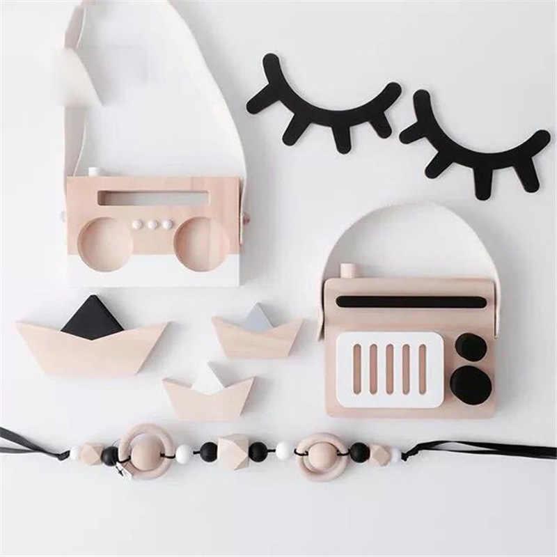 1 Pasang Nordic Style Cute Kayu 3D Bulu Mata Stiker Dinding Dekorasi Anak Anak-anak Bayi Kamar Latar Belakang Stiker Dinding Dekorasi Rumah