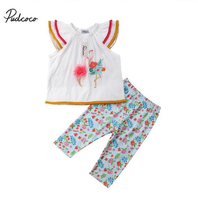 e8999e2a61e Infant Kid Summer Clothes Set 2018 Baby Girls Embroidery Flower Flamingo  Tunic Tops Vest+Pants 2pcs Suits Children Outfits