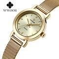 Wwoor marca casual mujeres de las señoras vestido relojes reloj de cuarzo fina banda de malla de acero de lujo de oro reloj de pulsera relogio feminino