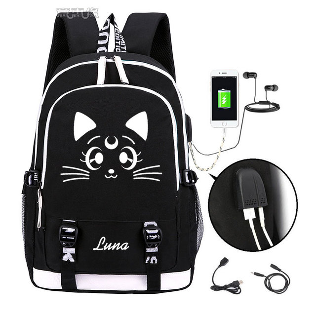 Sailor Moon Luminous Luna Cosplay Backpack Rucksack Women Men Japan Anime Laptop Schoolbag Mochila Bookbag