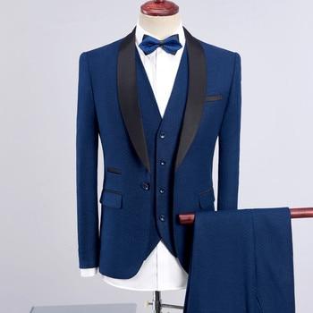 High quality men's navy suit men's suit set three-piece men's dress suit wedding groom groomsmen dress.