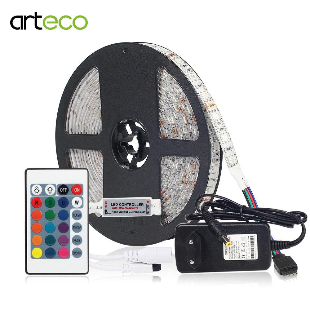 LED Strip 12V 5050 RGB Led Strip Light Set IP65 Waterproof led Diode Tape 5M/lot 60LEDs/m Flexible Strip +24KEY Controller+Plug