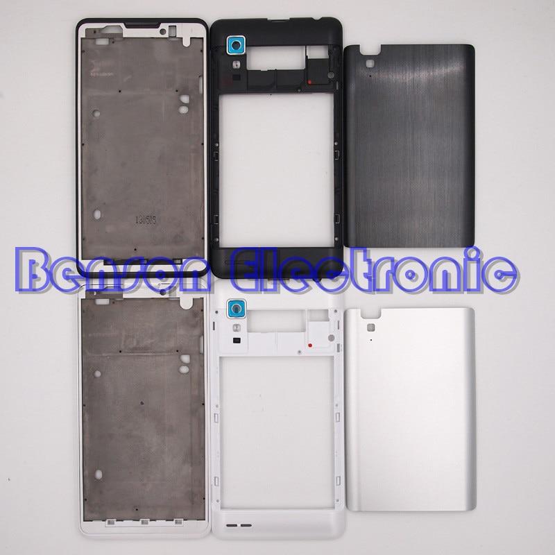 imágenes para BaanSam Nueva Holder LCD Marco Frontal tapa de La Batería de La Contraportada Para Lenovo P780 Caso de Vivienda Con la Lente de la Cámara + 3 M Adhesivo