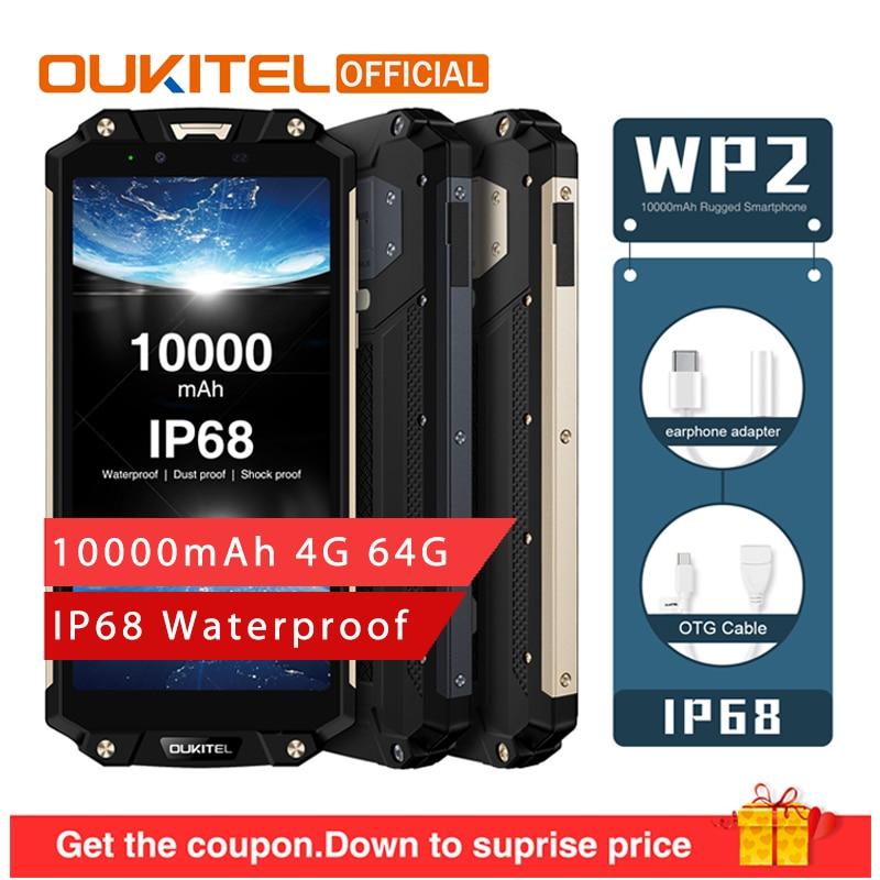 OUKITEL WP2 10000mAh IP68 Waterproof Dust Shock Proof Smartphone 4GB 64GB MT6750T Octa Core 6.0