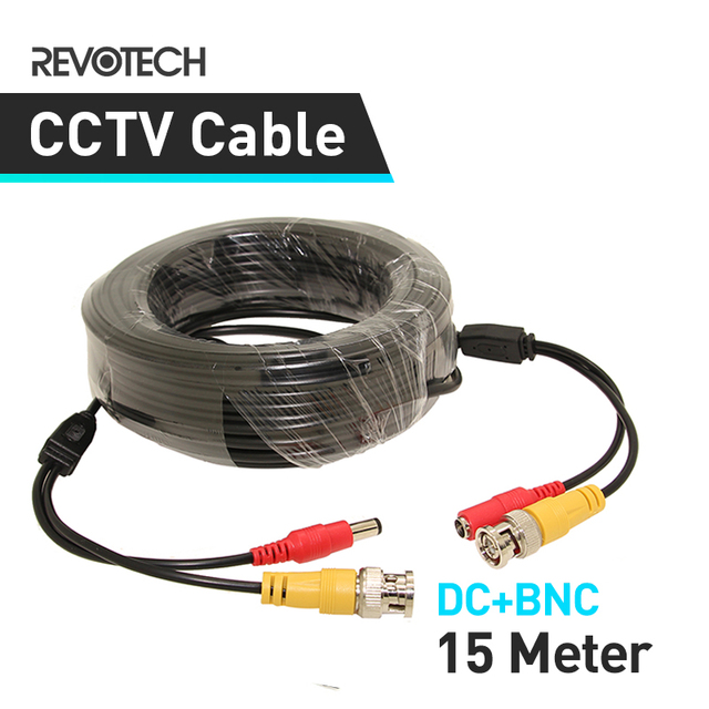 15M DC BNC 2in1 Video Power Adapter CCTV Camera Cable Security System Accessories