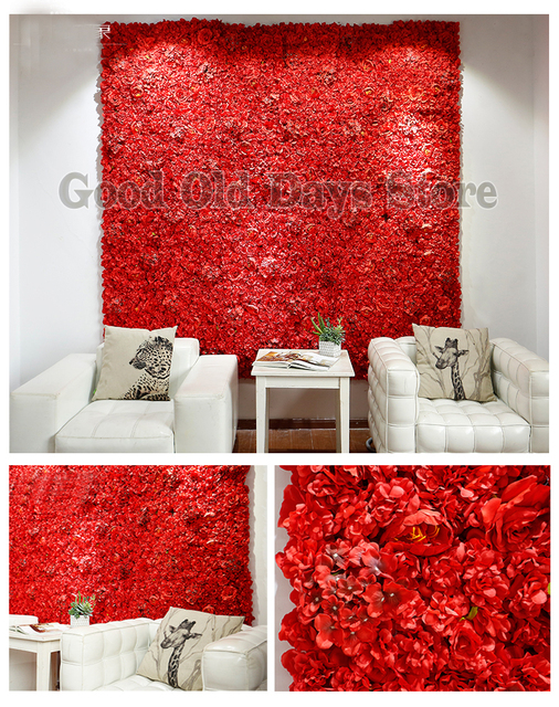 Hot Red wedding flower wall flower backdrop with Aluminum pipe stand Wedding stage decoration