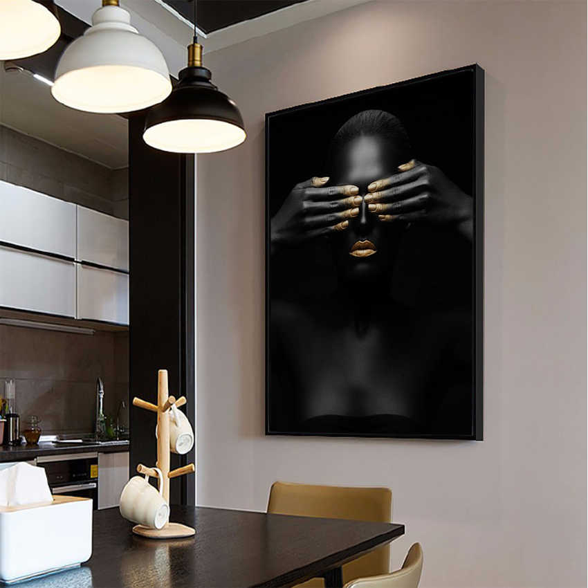 Wall Art Canvas painting black and gold african woman Pictures posters and prints Home decoration poster  for living room