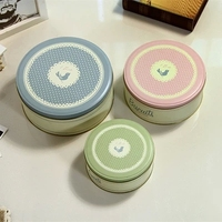 Free Shipping Cookie Jar Tin Box Creative Receive Choco Chip Three Piece Large Cake
