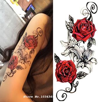 1 sztuk kwiat akwarelowy tymczasowy tatuaż na ciele tak piękne może być stosowany do na ramię udo lub z tyłu ciało wystrój tanie i dobre opinie MANZILIN xqb012 114*210mm