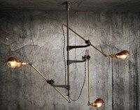 Ретро винтажная Лофт промышленная Люстра потолочная лампа простой магазин освещение 3 подвеска в форме головы коммерческие огни