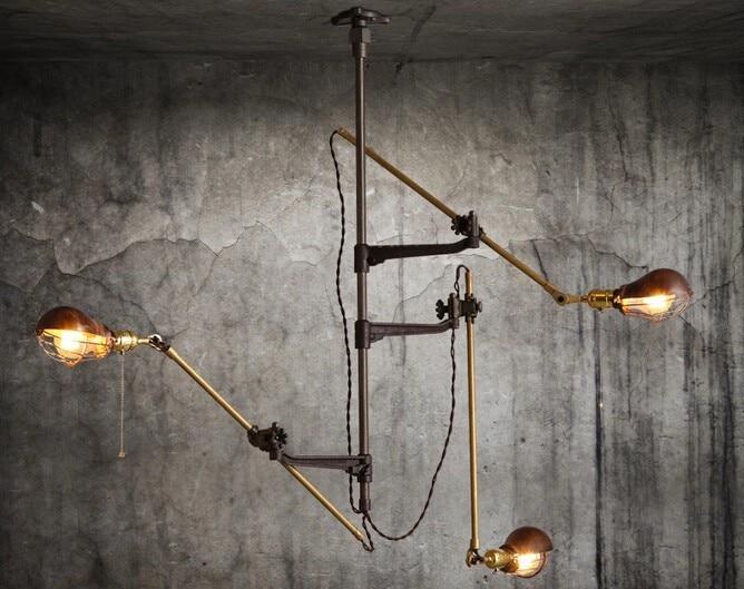 Retro Vintage Loft Industrial chandelier ceiling lamp simple shop lighting 3 heads pendant commercial lights vintage loft double heads marble stone shaded