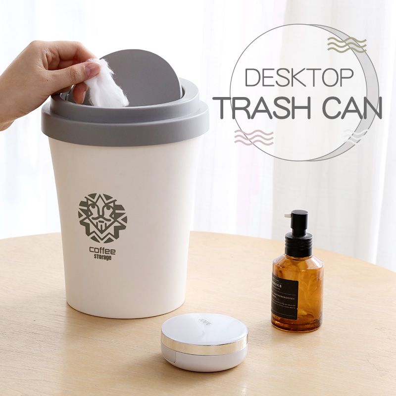 Small Waste Bins Creativity Coffee cup shape Plastic trash can Rolling Cover Type Round Standing desktop Trash can have pattern