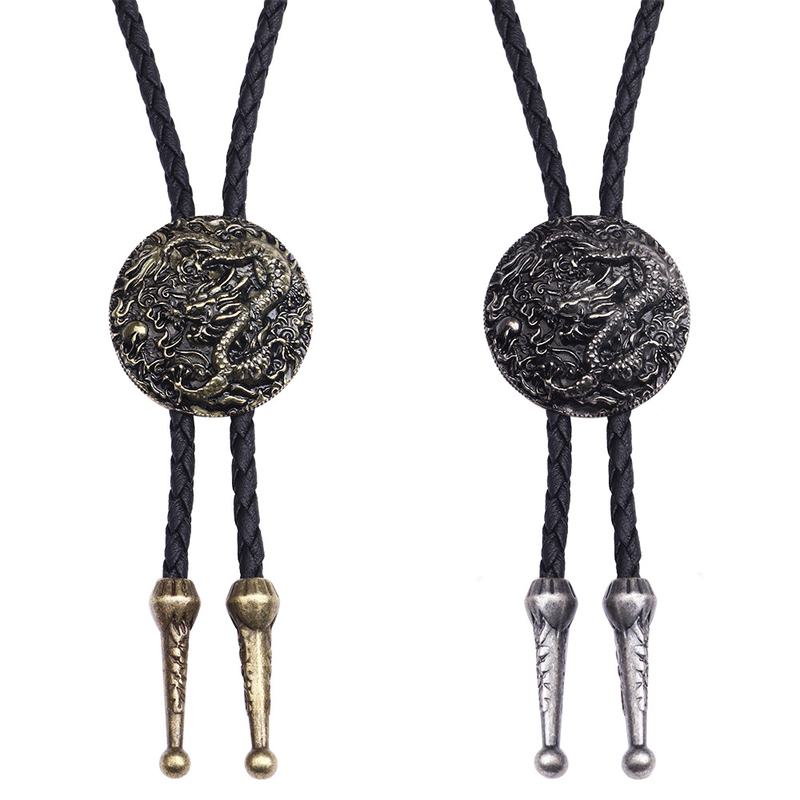BOLO TIE Necklace Ethnic Style Men Women Bolo Tie Silver Chinese Dragon Necklace Leather Long Necklace Sweater Chain Pendant