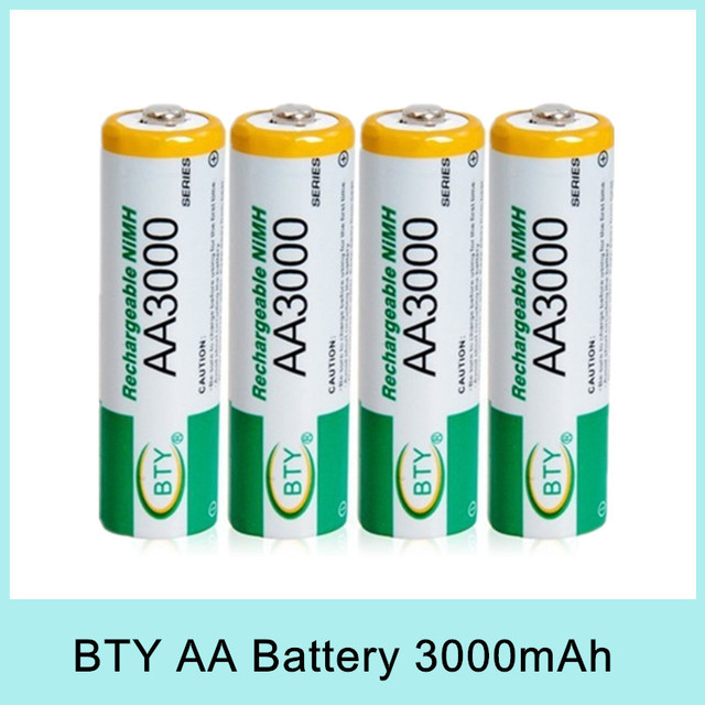 4PCS BTY Cheap 4*1.2V 3000mAh AA Rechargeable Ni-MH Battery Pack Batteries Original Genuine For Russia  Kazakhstan Drop Shipping
