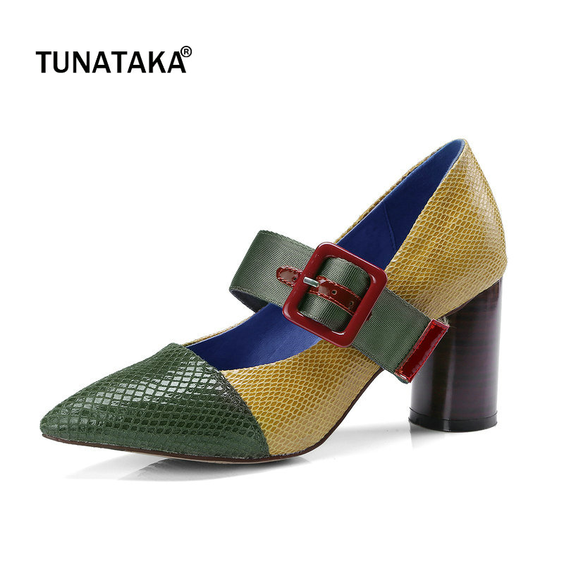 Patent Leather Mixed Color Buckle Square Hihg Heel Woman Pumps Fashion Pointed Toe Dress High Heel Shoes Woman Green Wine Red