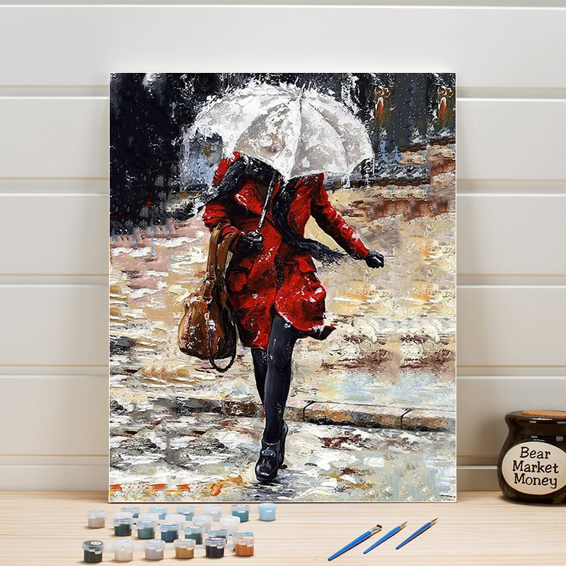 Picture Coloring By Numbers Woman Acrylic DIY Paint Painting Kits On Canvas For Living Room Wall Decoration Adults Drawing Arts