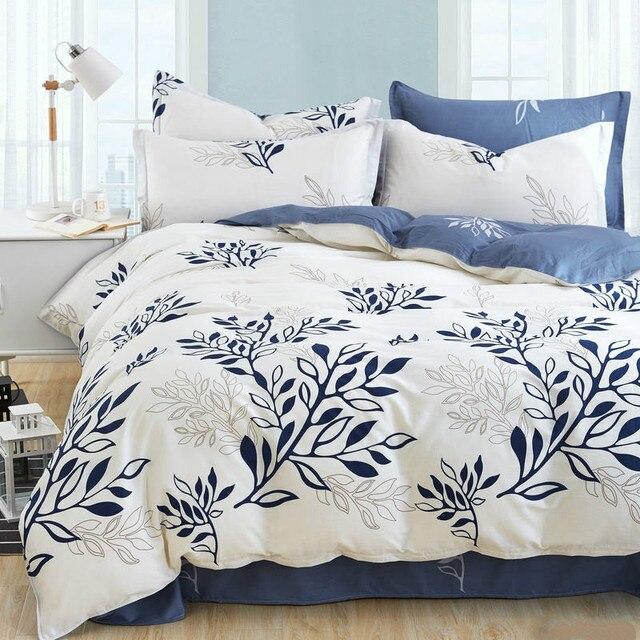 couvre lit moderne Bleu olive leaf imprimer lit kit linge rayé plaid ensembles de  couvre lit moderne
