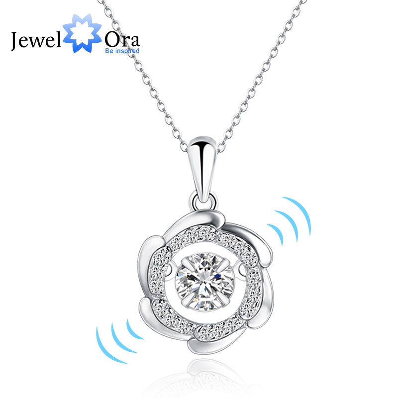 Rotate Dancing Stone 925 Sterling Silver CZ Necklacs