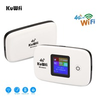 KuWfi Unlocked 150Mbps 3G 4G LTE Wifi Router Mobile Wifi Hotspot 2400mAH Battery With SIM Card Slot LCD Display Up To 10 Users
