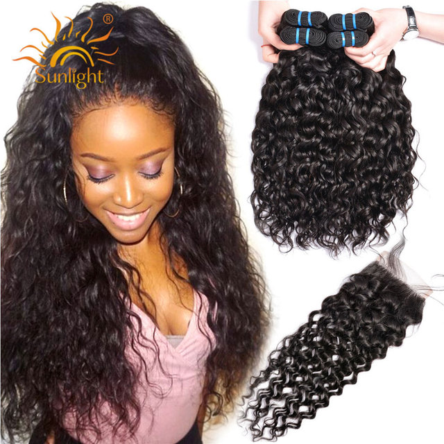 Water Wave Bundles With Closure Brazilian Hair Weave Bundle Sunlight Non Remy Lace Closure Human Hair 4 / 3 Bundles With Closure