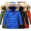 80% белая утка вниз зимняя куртка для мальчиков куртка подростковая дети теплая верхняя одежда с большой искусственный мех воротник размер 130 ~ 170