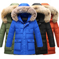 80% white duck down winter jacket for boys parka teenage kids warm outwear with big faux fur collar size 130~170