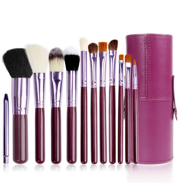 12 unids/set Profesional Herramientas de Maquillaje Cepillo Conjunto de Cuero Barril Bolsa de Cosméticos En Polvo Sombra de Ojos Cejas Eyeliner Maquillaje Cepillos Kit