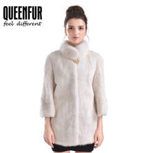 Women Natural Fur Coats Real Mink Fur Jacket Genuine Leather Fur Outwear Whole Skin Mink Fur Overcoat Fashion Thick Fur Cloth