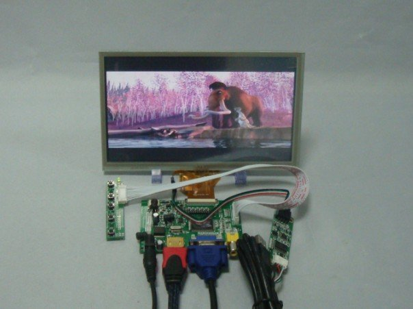 HDMI+VGA+2AV Driver board+8inch 800*480 AT080TN64 lcd panel with touch panel