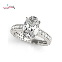 COLORFISH Silver Rings For Women Oval Cut 3 Ct Engagement Solitaire Ring Luxury 925 Sterling Silver