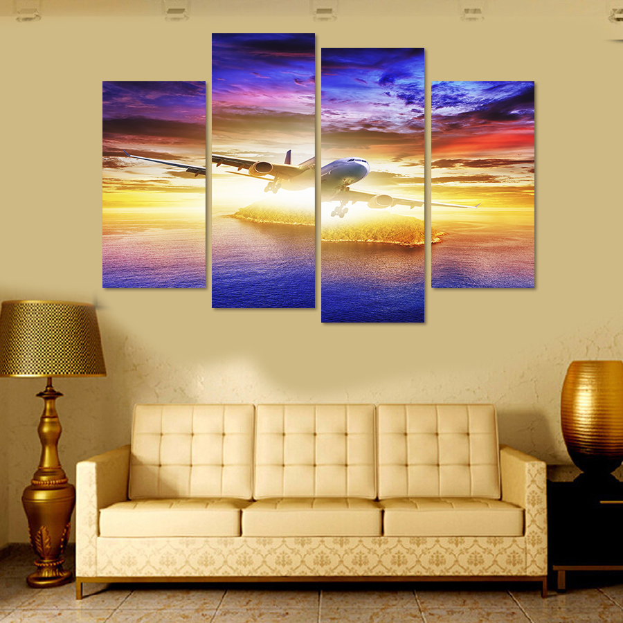 4 Panel Abstract Painting On The Wall Outer Space Art Pictures Wall ...