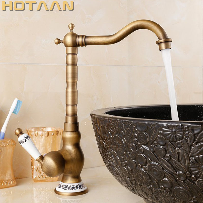 все цены на HOTAAN Free Shipping Deck Mounted Single Handle Hole Bathroom Sink Mixer Faucet Antique Brass Hot and Cold Water Mixer Tap 5077 онлайн