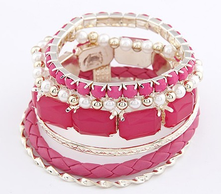 F&U 2015 New Vintage Multilayer Flower Acrylic square Metal Bead Wrap Bracelet For Women Fashion Jewelry High Quality!B110