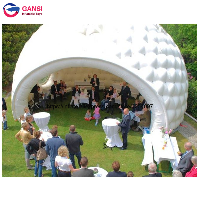 Wedding equipment white inflatable lawn bubble tent 7m diameter giant inflatable party dome tent PVC inflatable floating tent big inflatable lawn tent transparent pvc inflatable bubble tent for hotel use