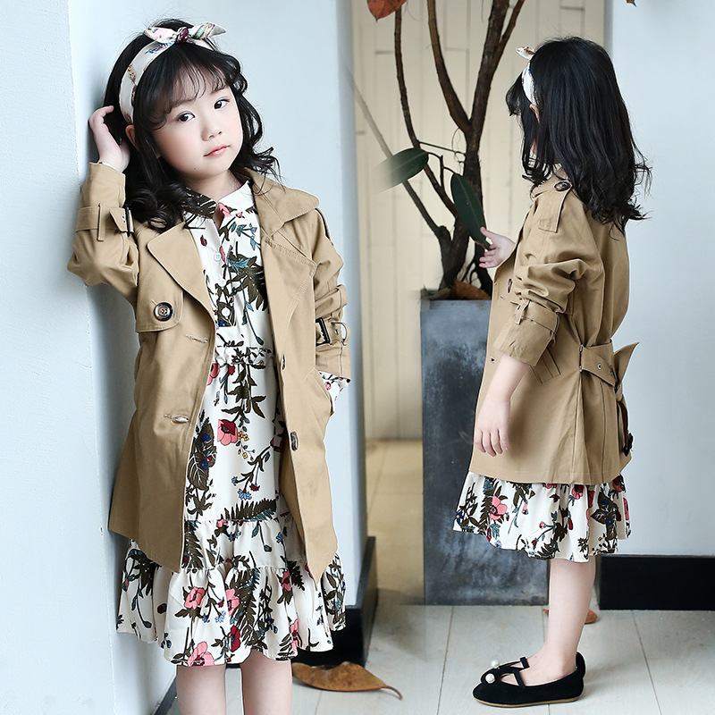 Windbreaker   trench   for Girls Khaki Beauty single Breasted children's   trench   Coat Kids Coat for Girl Costume Children Clothes