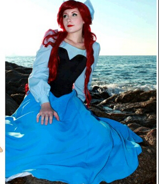 Free Shipping New Custom Fantasia Halloween Women Adult Princess Ariel Dress The Little Mermaid Ariel Costume Blue Dress