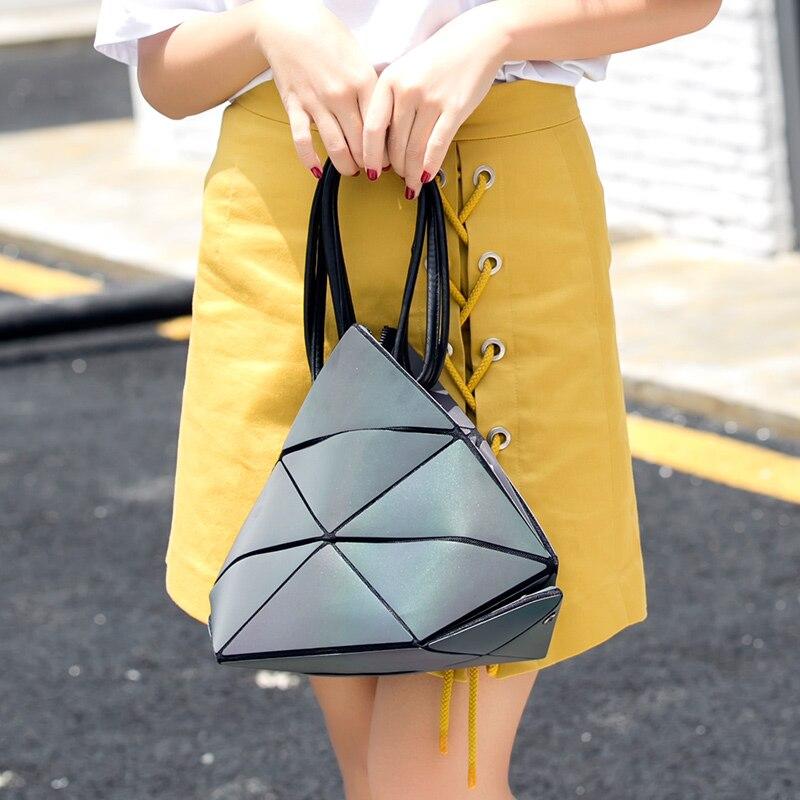 Women Folding Shoulder Bag Transformation Diamond Lattice Handbags Shopping Tote