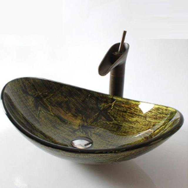 Oval Shaped Washbasin Retro Art Bathroom Artistic Gl Vessel Vanity Sink Copper Faucet With Leaf