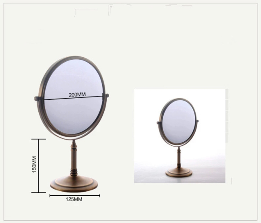 8 дюймов двухстороннее плоское зеркало для макияжа Круглый стол маленькое портативное туалетное зеркало персонализированное зеркало горячая распродажа - Цвет: Бронза