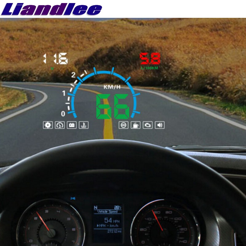 Liandlee HUD For KIA Carnival Ceed Carens Rondo KX3 Borrego Mohave Monitor Speed Projector Windshield Vehicle Head Up bigbigroad car hud obd 2 euobd windscreen projector speed head up display for kia niro mohave borrego k9 k900 kx3 k7 kx7 cadenza