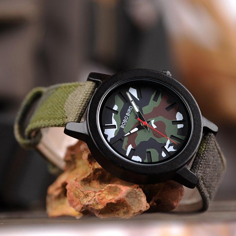Image 3 - BOBO BIRD Army Green Watch Men Wood Luxury Top Brand Quartz Watches Great Gift for Boyfriend relogio masculino in Wooden BoxQuartz Watches   -
