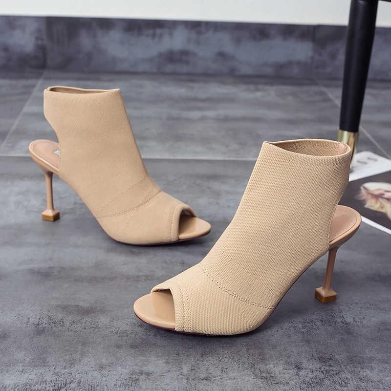 Seksi Bayan Yüksek Topuklu Yaz Sandalet 2019 Moda Elastik Çorap yarım çizmeler Burnu açık Stiletto Bayanlar Ayakkabı Patik Sandalia